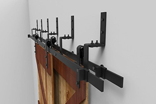 10FT Bypass Sliding Barn Double Door Hardware Track Set,Modern Interior Barn Door Hardware Double Track Closet Set(10FT Bypass Kit)