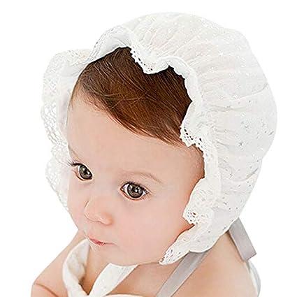 fb66d373a7ca Summer Sweet Baby Sun Hat Newborn Lace Polka Dot Hat Bucket Cap Cute Kids  Girls Boys Beanies Caps Newborn Photography Props 0-3M (White)  Amazon.in   Baby