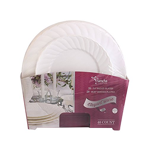 Disposable Plastic Plates Combo | Premium Quality White Dinnerware Set With Swirl Border | Excellent for Weddings, Bridal Showers, Parties & More | 7.5 Inches & 10.25 Inches 20 Pieces Each | 40 Count