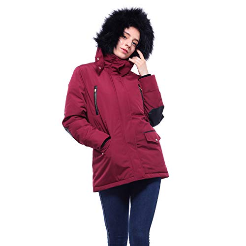 - Rokka&Rolla Women's Lined Hooded Heavy Insulated Parka Puffer Jacket with Removable Faux Fur Hood Trim Red Wine