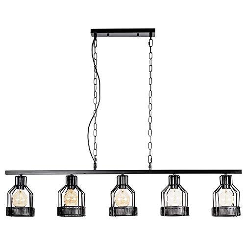 - Industrial Pendant Light Ceiling Light 5 Wrought Iron Lamp Shade Vintage Hanging Light for Loft Restaurant Café Dining Room Kitchen(Modern Black, Bulb Not Included)