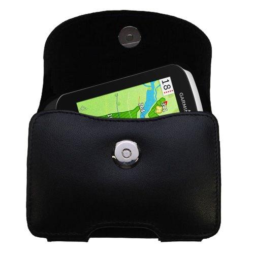 Designer Gomadic Black Leather Garmin Approach G8 Belt Carrying Case - Includes Optional Belt Loop and Removable Clip