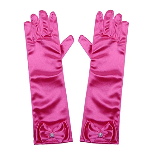 Little Girls Princess Gloves(Solid Color Long Elbow Length) For Birthday,Wedding,Holiday,Costume Party(Rose Red)