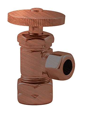 - Westbrass Round Handle Angle Stop Shut Off Valve, 1/2