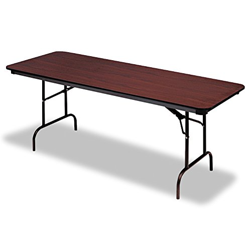 Iceberg ICE55224 Premium Wood Laminate Folding Table with Brown Steel Legs, 30'' Length x 72'' Width x 29'' Height, Mahogany by Iceberg