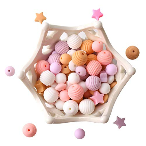let's make Baby Silikon Perlen zum Zahnen 100 Stück Lose Organische Pflege Schmuck Beißring Rosa Serie DIY Halskette Anhänger