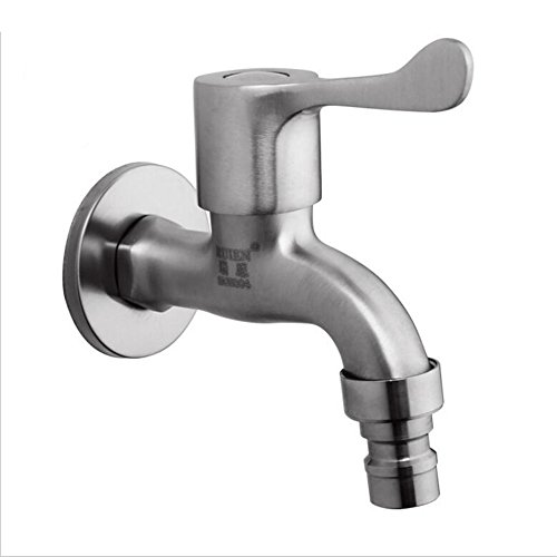 Antique Brass Single Cold Tap Stainless steel single cold single hole faucet wash basin wall mounted garden faucet Washing Machine Faucet Kitchen Sink ()