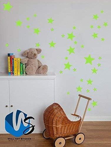 55 mixtes Taille étoiles Stickers muraux Autocollant Kid Art Chambre  d\'enfant Décoration chambre à coucher en vinyle - vert pomme