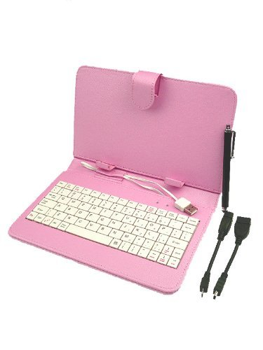"""Afunta Colourful 7 inch Universal Tablet PC PU Leather Case with Keyboard/Holder/Capacitive stylus for 7"""" Tablet PC MID PDA (Standard Keyboard, Pink)"""