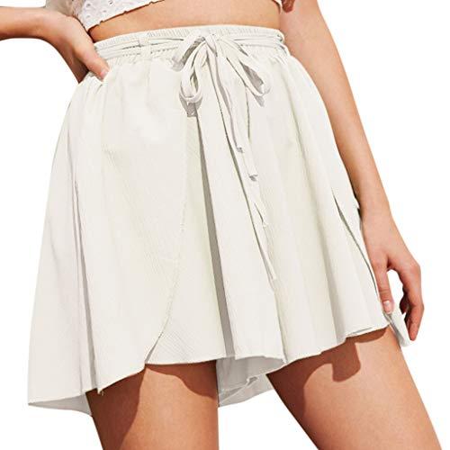 JOFOW Shorts Womens Solid Loose Swing Tie Strappy High Waist Pajamas Bottom Comfy Drawstring Casual Fashion Summer Mini Pants (M,Cream)