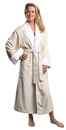 Monarch/Cypress Plush Lined Microfiber Spa Robe - Unisex Luxury Hotel Bathrobe in Natural/Large