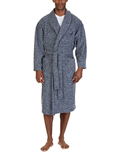 Nautica Mens Heathered Sleepwear Short Robe Navy (Nautica Mens Robe)