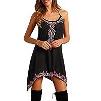 Muranba Women Dress Clearance, Women's Summer Floral Bohemian Spaghetti Sexy Sleeveless Midi Dress