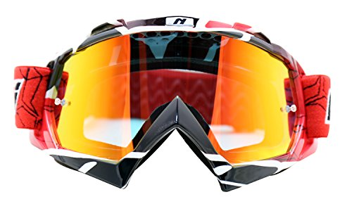 NENKI Motocross Goggles NK-1019 MX ATV Off Road Dirt Bike Goggles For Unisex Adult (Techline Red,Iridium Red Lens)