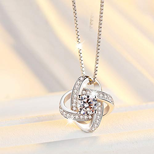 - ASHIJIN 925 Sterling Silver Crystal Clover Necklaces Pendant Pure Silver Jewelry