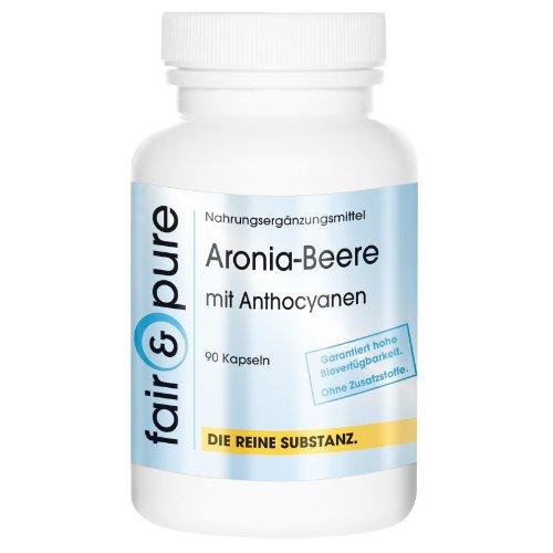 Aronia-Beere mit Anthocyanen (45% Polyphenole, 20% Anthocyane) 90 Kapseln Reinsubstanz, frei von Hilfs- und Zusatzstoffen, vegetarisch
