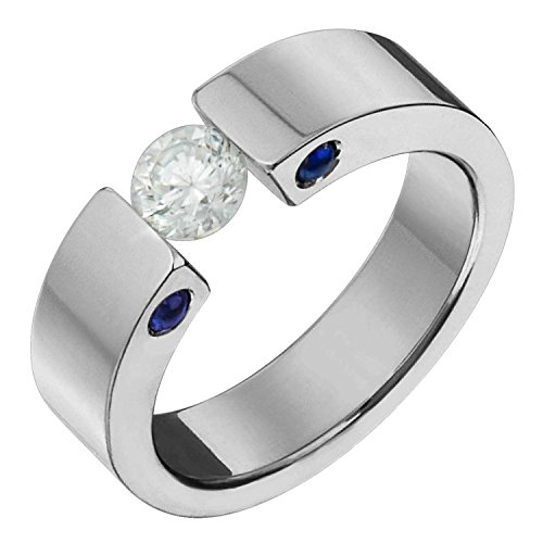 (Alain Raphael Ttitanium Diamond Ring With Blue Sapphire Tension Set 5mm Wide Comfort Fit Wedding Band)