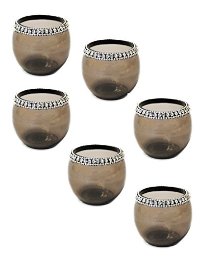 Crystal Votive / Tealite Holders Set of 6 Pcs. by Ima brass - Glass Tealite Holder