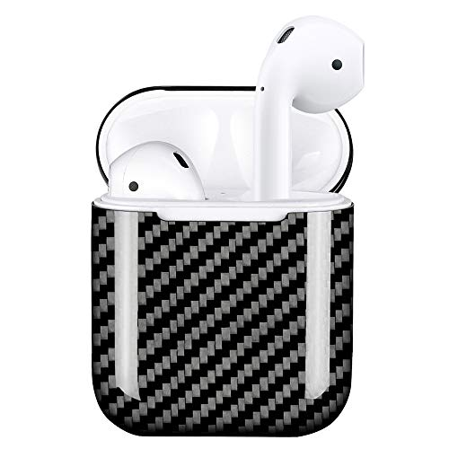 (MONOCARBON Genuine Carbon Fiber Case Compatible for AirPods 1 & 2 [Only for Charging Cases] Ultra Slim Apple Wireless Headset Headphone Case Box Wireless Bluetooth Earphone Protector )