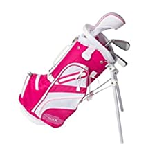 The Merchants of Golf Tour x junior golf sets are great for beginner golfers. Ages under 5. Under 3'2 inch in height. Includes: 1 - oversized 3 wood. 1 - deep cavity 7 iron. 1 - alignment style PUTTER. 1 - deluxe lightweight stand bag with du...