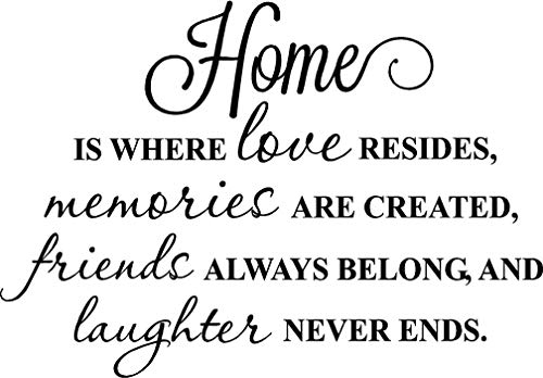 Ideogram Designs Home is where love resides memories are created friends always belong and laughter never ends cute wall art decor inspirational vinyl wall quote saying lettering stencil art]()