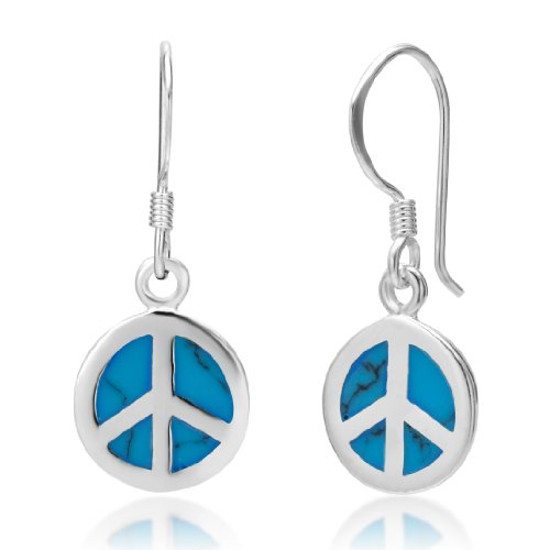 Hippie Rainbow Peace Earrings (925 Sterling Silver Blue Turquoise Stone Peace Sign Round Dangle Hook Earrings)