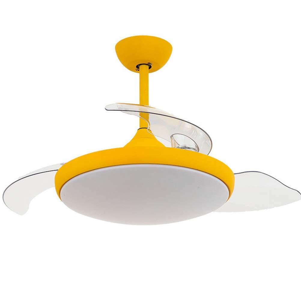 ペンダントライト ランプ付きリビングルームファンシャンデリア目に見えないファンペンダント照明インテリジェントシーリングライトファンシーリングライト付きシンプルな天井ファン B07SRV2Z5Y