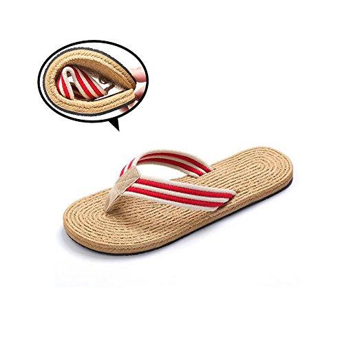 flip-folps Zapatillas unisexnon-slip doble EVA Tread calzado algodón Oxford correa de rayas tanga abierto Tot interior y exterior sandalias zapatos suela de goma fresco estilo mediterráneo Casual Wear Rojo