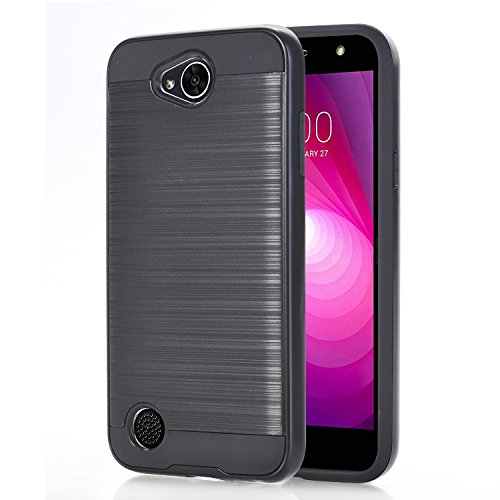 LG X Power 2 / LV7 Case, SUMOON Premium Dustproof Shockproof Metal Brushed Texture Resistance Rugged Hybrid Dual Layer Armor Protective Case Cover for LG X Power 2 / LV7 / Fiesta LTE (Black)