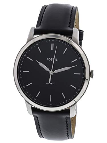 Fossil Men's The The Minimalist Stainless Steel Quartz Watch with Leather Calfskin Strap, Black, 22 (Model: FS5398