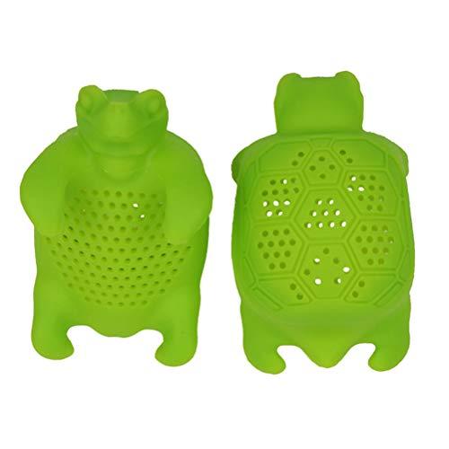 BESTONZON 2PCS Cute Silicone Turtle Tea Infuser Animal Loose Leaf Tea Strainer Filter Diffuser Kitchen Tools Gadgets Green