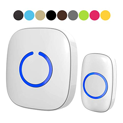SadoTech Model C Wireless Doorbell Operating at over 1000-feet Range with Over 50 Chimes, No Batteries Required for Receiver, (White)