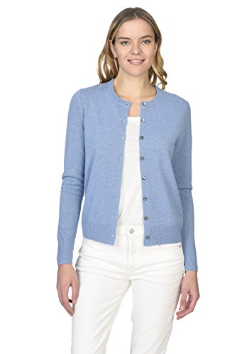 State Cashmere Women's 100% Pure Cashmere Button Front Long Sleeve Crew Neck Cardigan - Crew 100% Cashmere Sweater