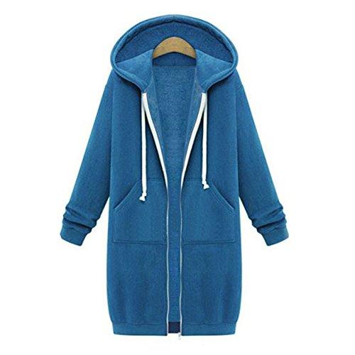 Chaqueta de Parka con de tamaño Chaqueta de para de de Hibote Chaqueta Invierno otoño Gran Punto de Capucha Suelto Invierno Mujer Blouson Chaqueta Azul 5CU7RqwBU