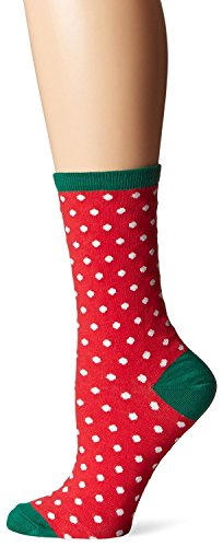 Hot Sox Womens Dress Crew, Small Polka Dots Red - Size: 9-11, Comes With a Helicase Brand Sock Ring (Dot Red Hot)