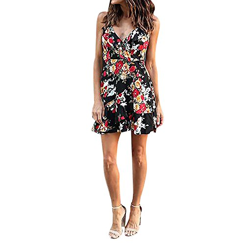 Respctful Floral Print Deep V Backless Bandage Sleeveless Strapless Cami Mini Dress For Women (Black, M) from Respctful