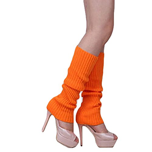 (Song Girls Teen 80s Dance Plain Ribbed Women Knit Crochet Long Leg Warmers Fancy Dress)
