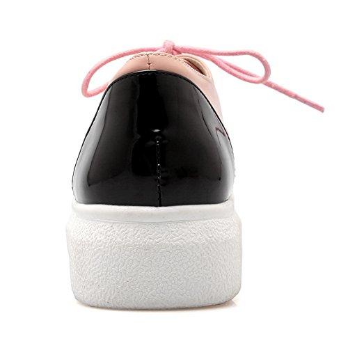 BalaMasa Ladies Bandage Color Matching Thick Bottom Heel Round Toe Imitated Leather Pumps-Shoes Pink kBSg0fw