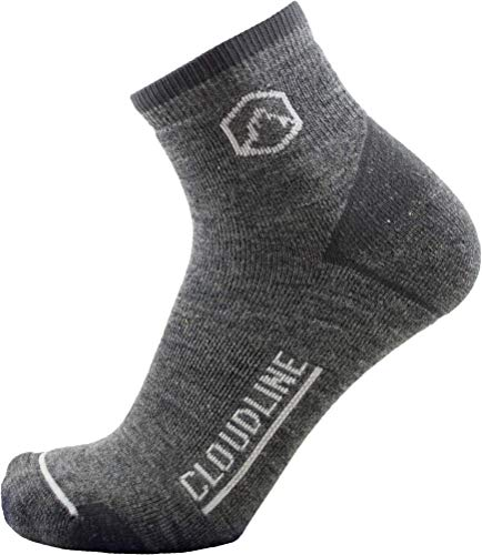 CloudLine Merino Wool 1/4 Top Running & Athletic Socks - Light Cushion - Small Granite - Made in the USA ()