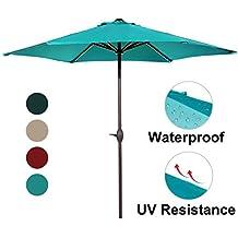 Abba Patio Outdoor Patio Umbrella 9-Feet Aluminum Market Table Umbrella with Push Button Tilt and Crank, Turquoise