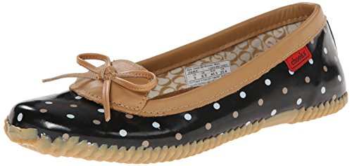 Chooka Women's Waterproof Comfort Ballet Flat, Classic Dot Black, 7 M US