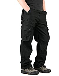 Men's Military Cargo Pants Cotton Straight Fit Casual Tatical Trousers Plus Size 6 Pockets
