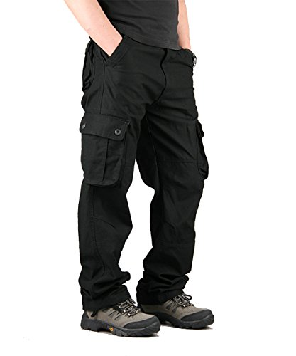 CloSoul Direct Men's Military Cargo Pants Cotton Wild Straight-Fit Trousers 6 Pockets (Black/34) Black Cargo Trousers