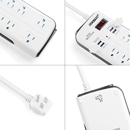 BESTEK 8-Outlet Surge Protector Power Strip 6.6-Foot with 7.5A 4-Port USB Charging Station by BESTEK (Image #5)