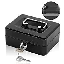 Small Coin Cash Box with Slot - Jssmst Lock Box for Adults Kids, Saving Money Box with Money Tray, Heavy-Duty 100% Safe, black