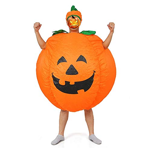 Inflatable Pumpkin Costume Adutl Halloween Costume Cosplay Party Clothes (Pumpkin) Halloween Baloon Black]()