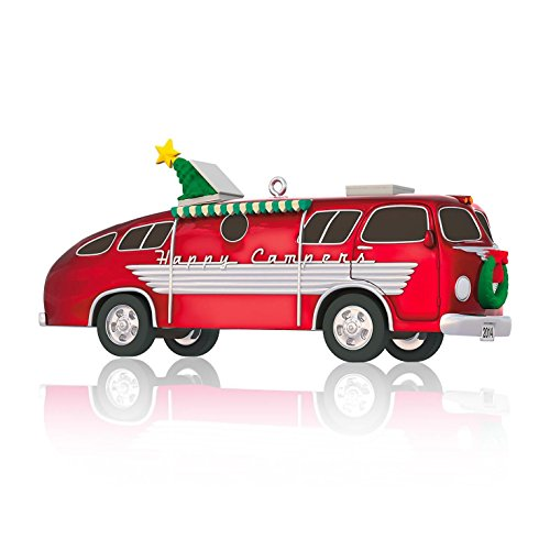 Hallmark 2014 Keepsake Ornament, Happy Campers made our list of the most unique camping Christmas tree ornaments to decorate your RV trailer Christmas tree with whimsical camping themed Christmas ornaments!