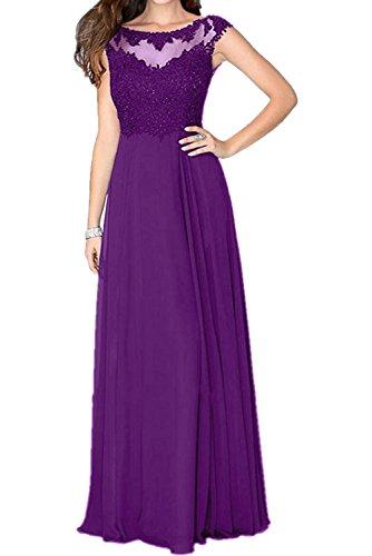 Charmant Damen Elegant Violett Spitze Abendkleider Partykleider Abschlussballkleider Lang A-linie -52 Violett
