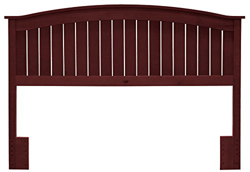 (Leggett & Platt Finley Wood Headboard Panel with Curved Top Rail and Slatted Grill Design, Merlot Finish, Full / Queen )