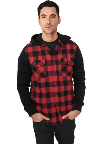 """Urban Classics """"Hooded Checked Flanell Sweat Sleeve Shirt"""", Größe: S, Farbe: black-red-black"""